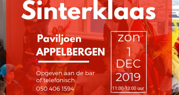 Sinterklaas 1 december Paviljoen Appelbergen